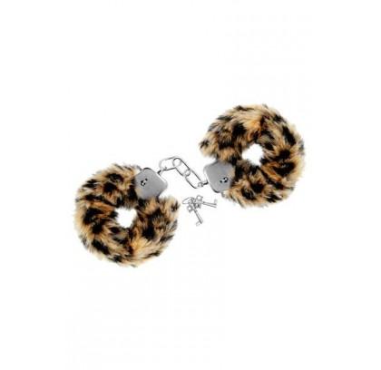 Menottes de poignets léopard fausse fourrure